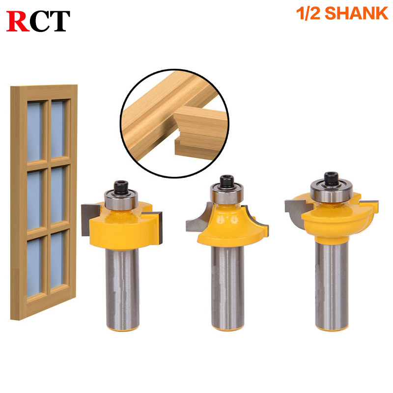 3pcs/set Glass door plank wood working tools curboard cutter router bits 1/2 shank T type ballnose free shipping 10pcs 6x25mm one flute spiral cutter cnc router bits engraving tool bits cutting tools wood router bits