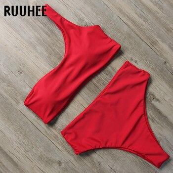 RUUHEE One Shoulder Bikini Set Swimwear Women Swimsuit 2018 Push Up Bikini Padded Bathing Suit Female Beachwear Swimming Wear