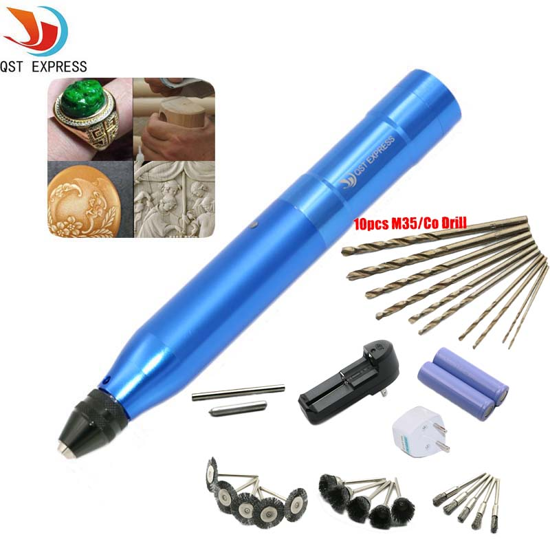 QSTEXPRESS Portable Small Electric Mill Electric Drill Charge Electric Engraving Pen Drilling Sanding Polishing EngravingMachine цена