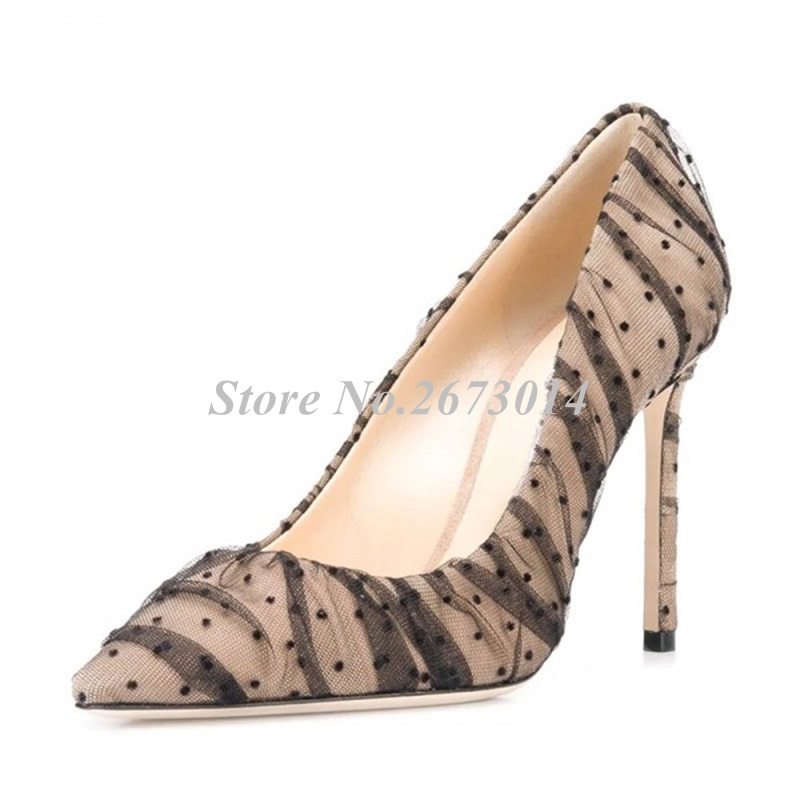 Nude Mesh Polka Dots Stiletto Heels Pumps Pointy Toe Sexy Women Wedding Shoes 2019 New