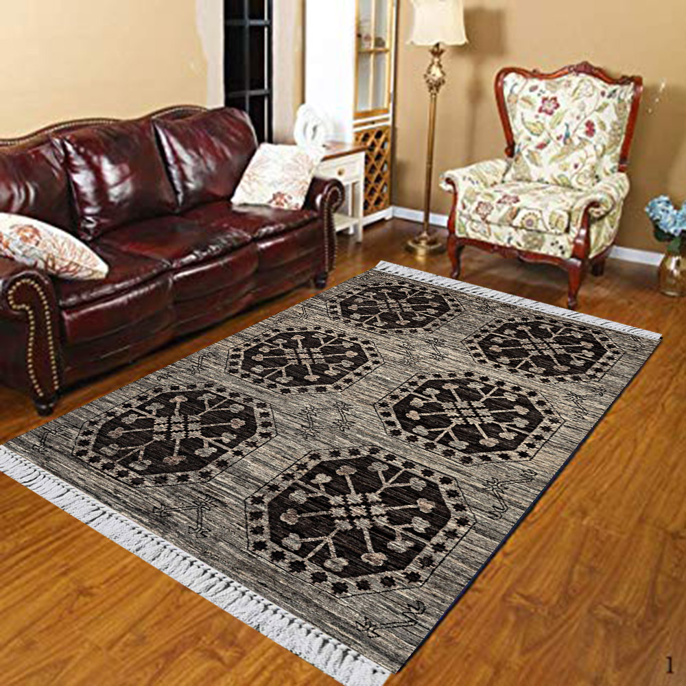 Else Gray Black Authentic Turkish Geometric Vintage 3d Print Anti Slip Kilim Washable Decorative Kilim Area Rug Bohemian Carpet