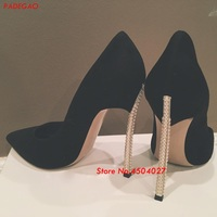 Hot Women Pumps Luxury Black Suede Pearls High Heel Shoes Pointed Toe Stiletto Heels Party Dress Shoes Woman