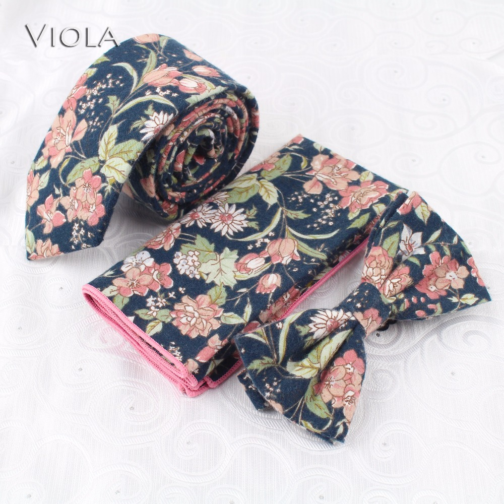 New Floral Printed Brisk Spring Wedding 6.5cm Neck Tie Set 100%Cotton Women&Men Butterfly Gift Bowtie Handkerchief Pocket Square(China)