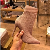 2018 autumn and winter new terry flower line knitted elastic socks boots pointed high heeled temperament boots