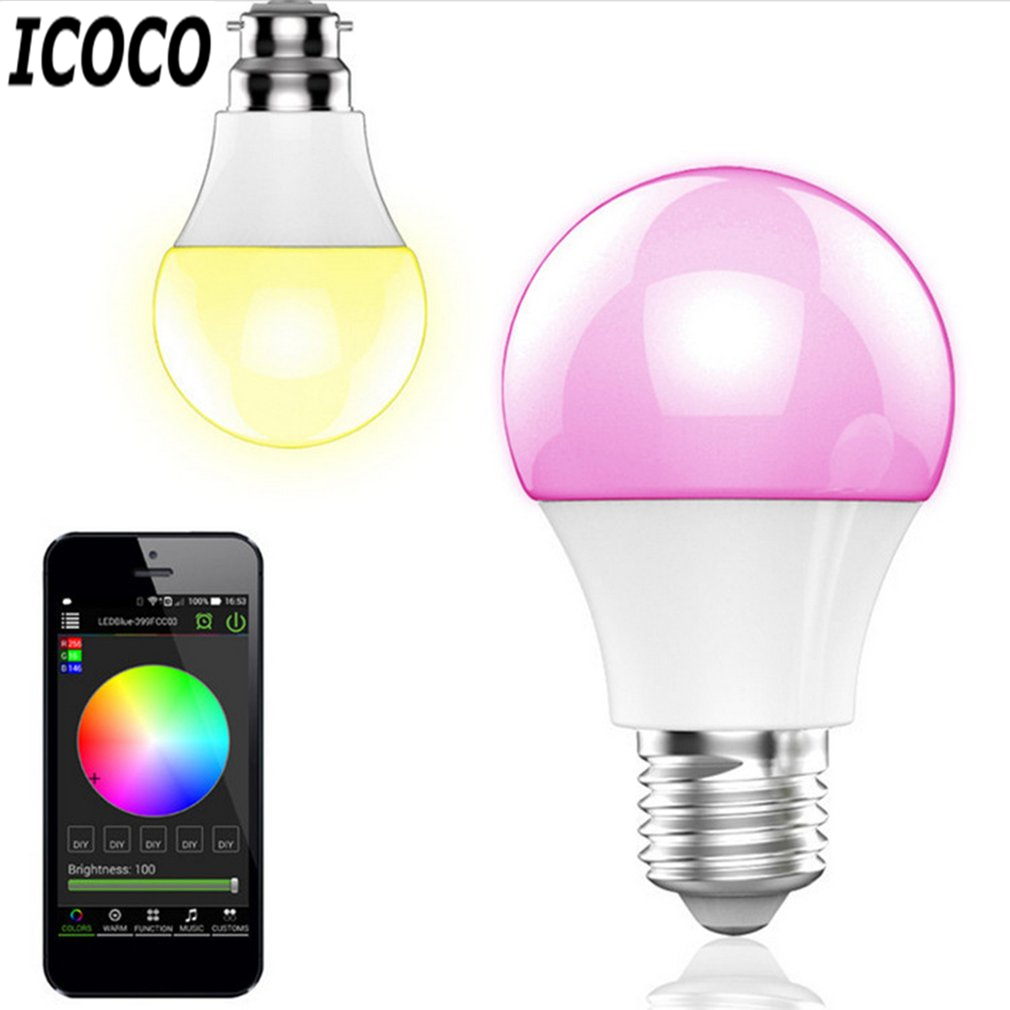 ICOCO E27 Smart Bluetooth LED Light Multicolor Dimmer Bulb Lamp for iOS for Android System +Remote Control Anti-interference Hot smart bulb e27 7w led bulb energy saving lamp color changeable smart bulb led lighting for iphone android home bedroom lighitng