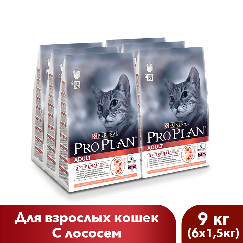 Dry food Pro Plan for adult cats with salmon, 9 kg. цены онлайн