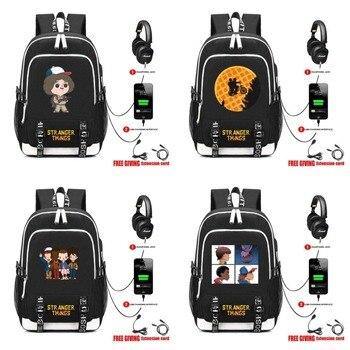 TV Stranger Things Backpack travel School Bag teenagers Casual USB Charging Headphone Jack men women Laptop Bags 19 style  дамски часовници розово злато