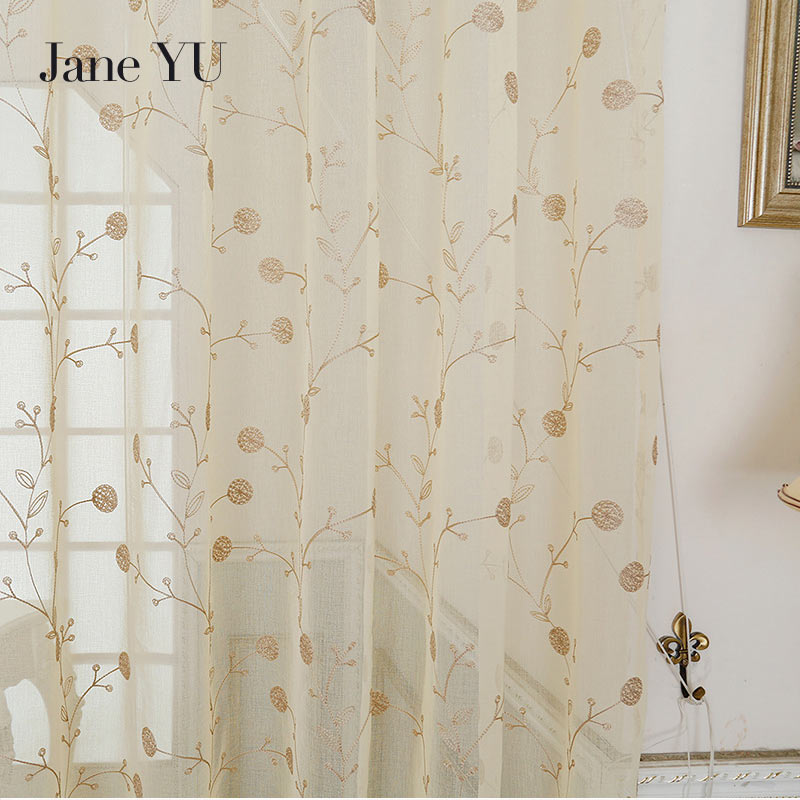 JaneYU 2019 acquard floral design window curtain sheer for bedroom tulle fabrics living room modern design ready in Curtains from Home Garden
