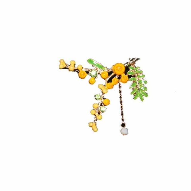 Di modo Mimosa di Lusso Spille Smalto Smalto Dei Monili Della Boemia di Stile Be
