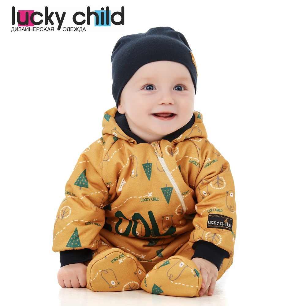 Jumpsuit Lucky Child for girls and boys 63-70f winter holidays Children's clothes kids Rompers for baby new baby rompers winter thick warm baby boy clothing long sleeve hooded jumpsuit kids newborn outwear for 0 36m