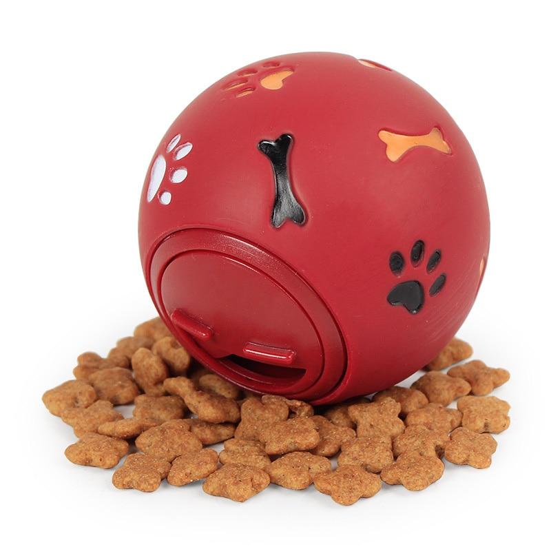 Pelota de hule de Juguete para perro, dispensador para masticar, fuga, pelota de juego para alimentos, juguete para entrenamiento de mordedor dental para mascotas, azul, rojo, 7,5 cm/2,95''