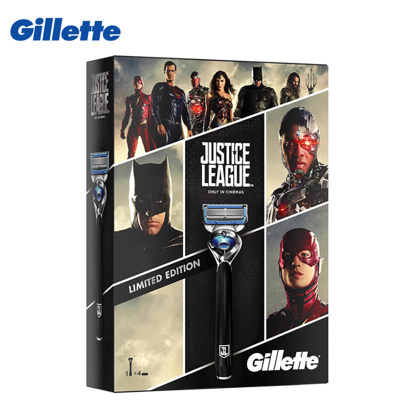 Gift pack Gillette Fusion Proshield Chill Justice League with 4 replacement cartridges gift set gillette fusion proshield chill machine with 1 interchangeable cassette 2 interchangeable cassettes shaving gel 2 i