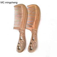 MC Brand Handmade Comb Flower Carved Green Sandalwood Hair Combs Chinese Style Fashion Handle Nature Wooden Comb Brush Hair