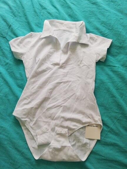 Women Solid White Bodysuit Turn Down V Neck Short Sleeve Bodysuits Mono Corto Mujer photo review