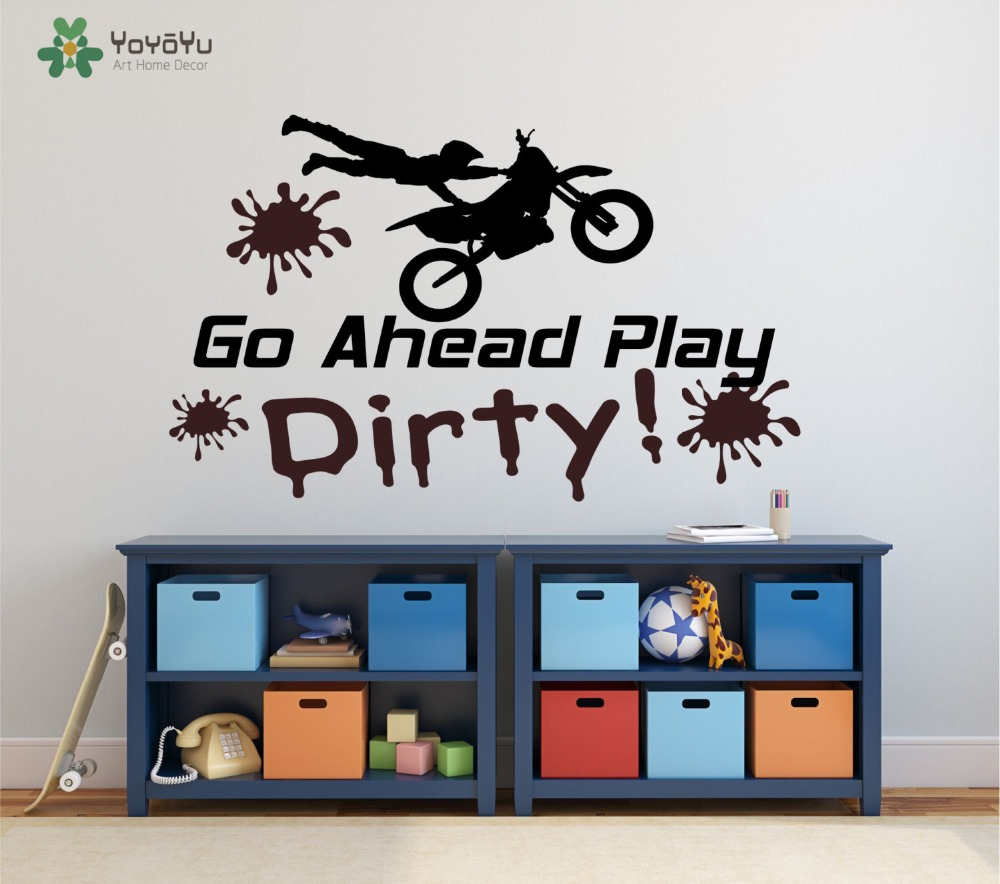 Wall Decal Vinyl Motocross Sticker Go Ahead Play Dirty Moto Bike For Boys Room Art Decoration Motorcycle Design Poster WW-429 ...