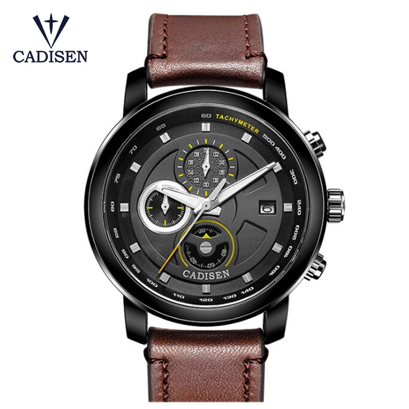 CADISEN Fashion Leather Strap Watches Men Casual Watch Men Business Wristwatches Sports Military Quartz Watch Relogio Masculino man fashion casual watch men sports watches men military wristwatches mans silicone strap quartz wristwatch relogio masculino
