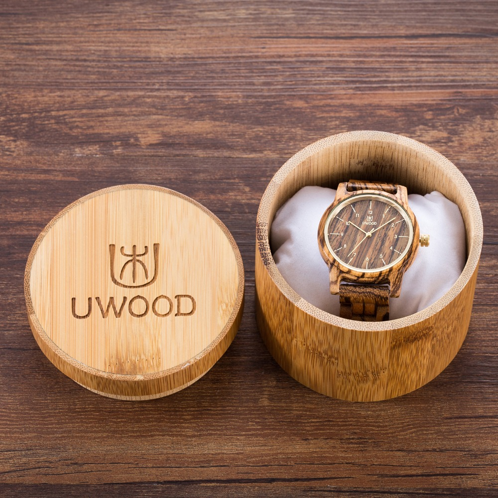2018 Mens Watches Top Brand Luxury Women Watch Wood UWOOD 1007 Unique Handmade Walnut Wood Watch Men's Wooden Fashion Watches naturally retro style minimalism luxury simplicity walnut wooden watches men with wood bamboo straps famous brand mens watches