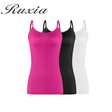 Ruxia Women Casual Camisole Summer Workout Tank top Female Nylon Spandex  Solid Camis 3Pcs Sleeveless T-Shirt Lady Breathable Top baa8106cb410