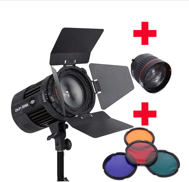 Nanguang P100WA Radio LED Studio Light Annular Lamp DSR DSLR Camera Photo Phone Light Spotlight + NG-10X Focus Lens + Filters