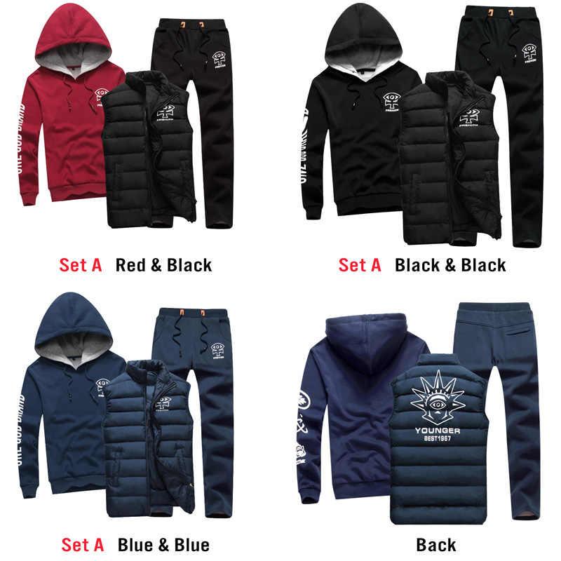 c803372a435b ... Для мужчин комплект 3 предмета Марка Толстовка Теплый жилет штаны  Зимняя мужская спортивная одежда с застежкой ...