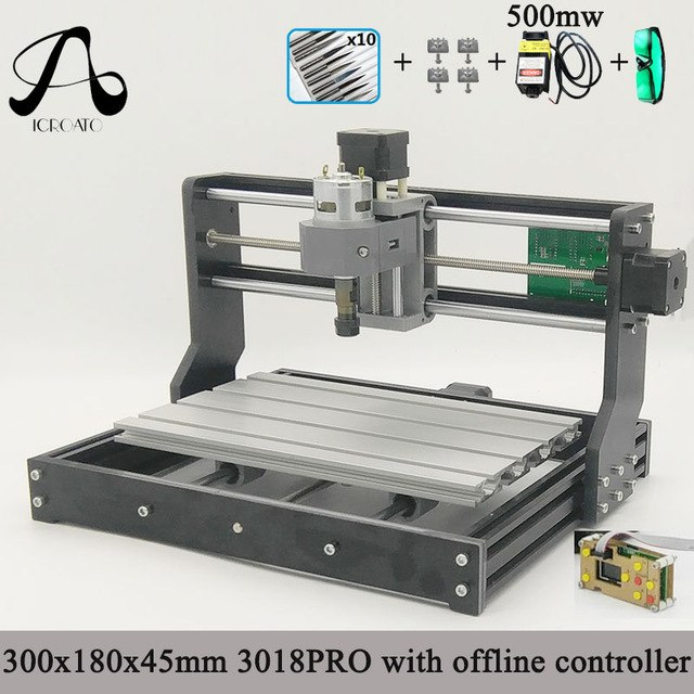 Diy mini cnc machine 3 Axis pcb Milling machine Wood Router laser engraving with offline controller