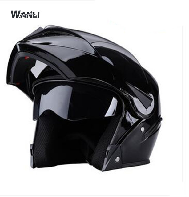 Black Helmet Motorcycle Casco De Moto Cafe Racer Flip Up Full Face Dual Lens