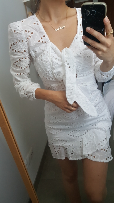 White Embroidery Short Dress Women Sexy V Neck Hollow Out Cotton Winter Dress Casual Holiday Lace Up Vestidos photo review