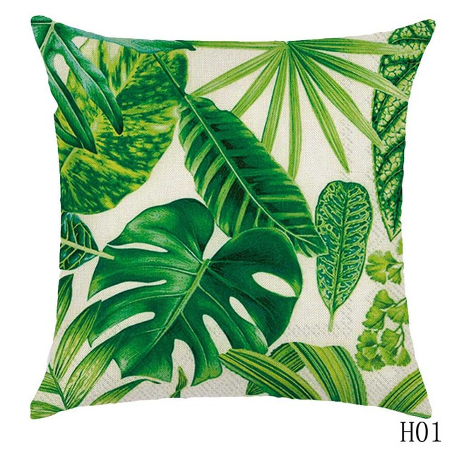 regenwald bl tter afrika leinen tropischen pflanzen hibiskus blume dekokissen fall chair sofa. Black Bedroom Furniture Sets. Home Design Ideas