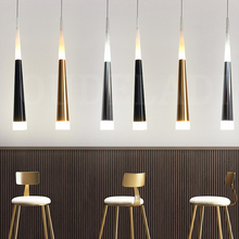 1 pçs moderno led luzes pingente cônico 7w alumínio acrílico interior luminária de jantar/sala estar barra café lâmpada pendurada
