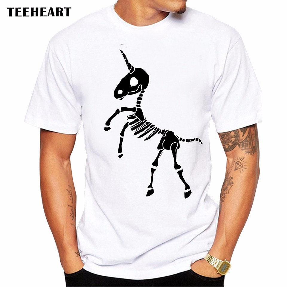 d2ffff667 2017 Summer Funny Skeleton Unicorn Design T Shirt Men's High Quality  Graphics Printed Tops Hipster Tees-in T-Shirts from Men's Clothing on  Aliexpress.com ...