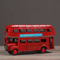 London streets Classic Red double decker Bus pure manual Tin Cars Model Home Bar Photo Props Toys Gifts
