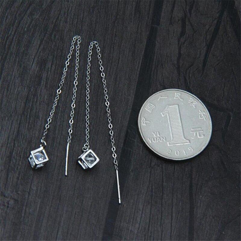 100 925 Sterling Silver Zircon Dangle Drop Earrings For Women Lady Delicate Ear Line Silver Fashion Jewelry Aretes FYS055 in Earrings from Jewelry Accessories