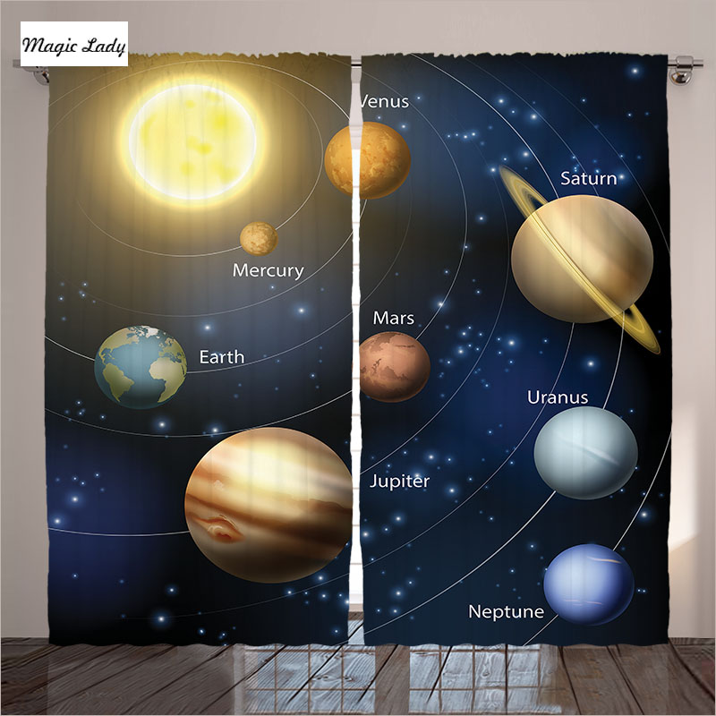 Curtains blockout living room bedroom solar system orbit for B q living room curtains