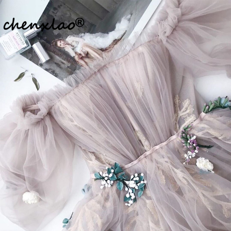 2019 New Listing Evening Dress Long Off The Shoulder Sleeve 3D Flower Floor Length Evening Dresses Formal Gowns Vestidos