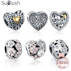 Suplush Bead Charm with Authentic 100% 925 Sterling Silver Fit Pandora Original Charms Bracelets Luxury Women Jewelry gift