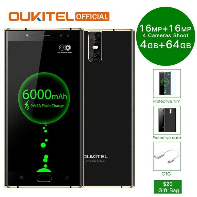 "Oukitel K3 мобильного телефона mt6750t восемь ядер 4 ГБ + 64 ГБ 5,5 ""Dual 2.5D Экран 6000 мАч 4 камеры 16MP + 2MP спереди смартфон с отпечатками пальцев"
