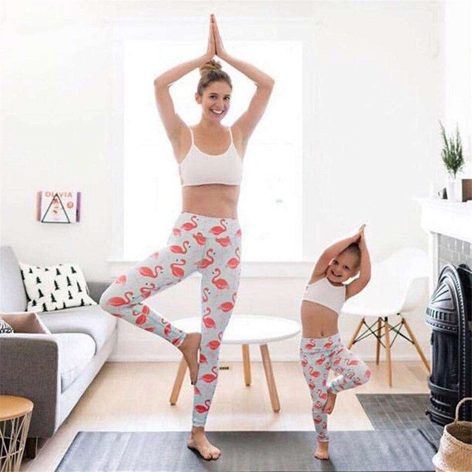 Whimsical flamingo printed yoga pants high waist elastic ...
