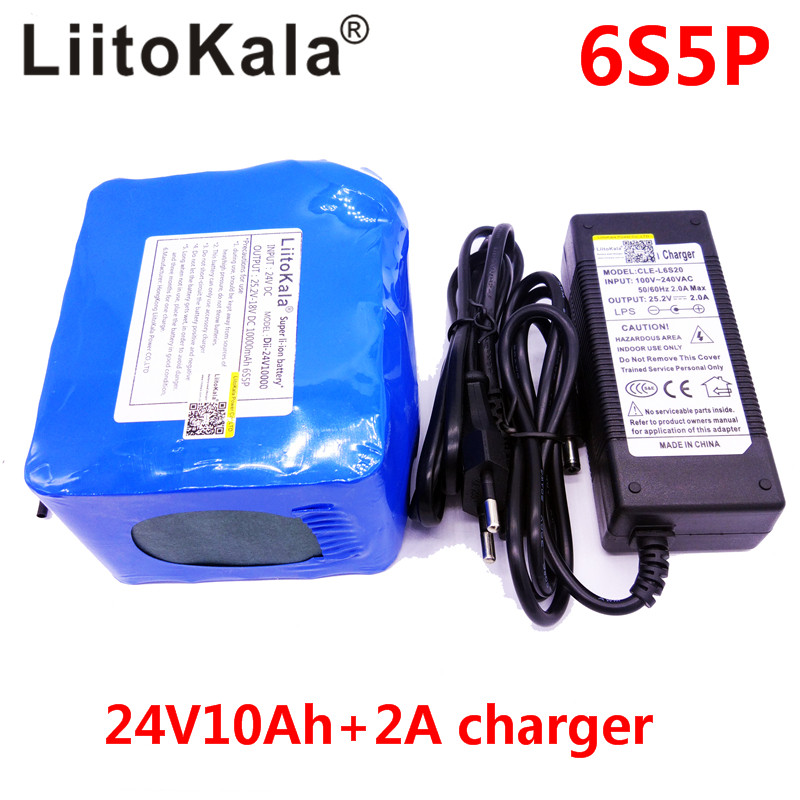 Liitokala 24V 10Ah 6s5p lithium battery electric bicycle 18650 / 24V (25.2V)Li ion battery + 25.2V 2A charger 2017 liitokala new original 18650 3400mah battery rechargeable li ion ncr18650b 3 7v 3400 battery