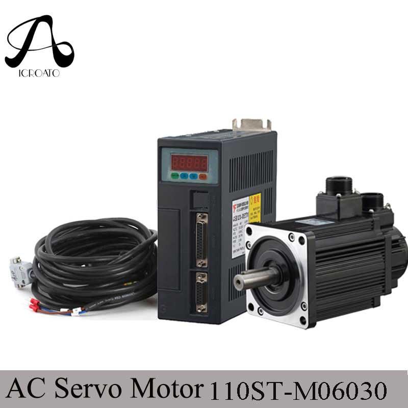 Haute qualité 1.8KW AC servomoteur 110ST-M06030 6N. M 3000 tr/min AC moteur + pilote de servomoteur assorti + 3 M câble kits de moteur complets