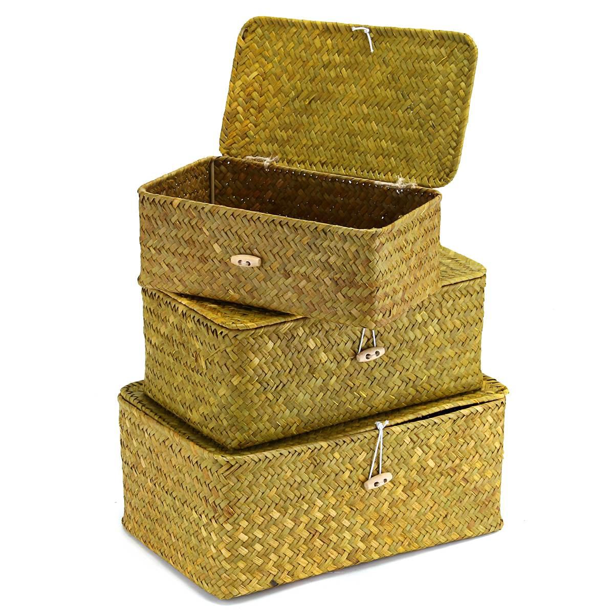 Vintage Wicker Basket Cosmetic Makeup Jewelry Storage Box Storage ...