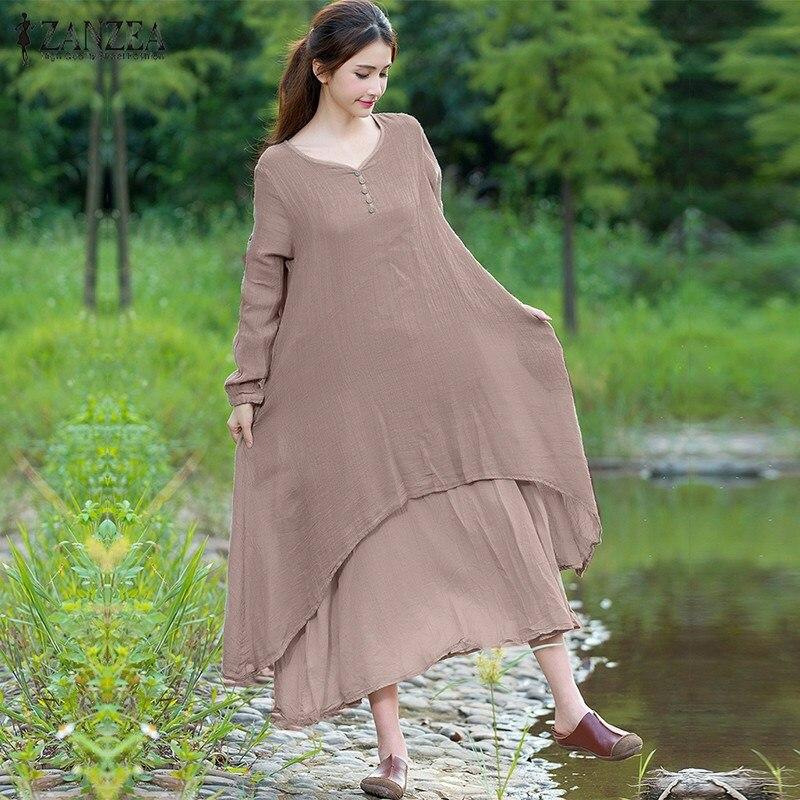 Pregnant Clothes 2018 Women Maternity Dress Casual Loose Asymmetrical Pregnancy Dresses Vintage V Neck Long Sleeve Vestidos