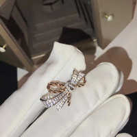 2018 New Pure 925 Sterling Silver Jewelry For Women Wedding Rings Bowknot Design Jewelry 2 Color