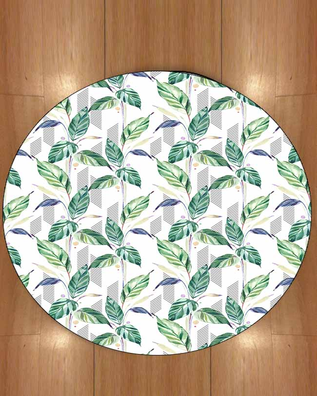 Else Green Blue Tree Tropical Leaves White Floor 3d Print Anti Slip Back Round Carpets Area Rug For Living Rooms Bathroom