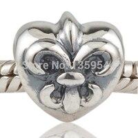 Fleur De Lis Flower Love Heart 925 Sterling Silver Charm Bead Fit European Charms Bracelet Free