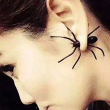 1pc !!punk Style Exaggeration Halloween Black Spider Charm Ear Stud Earrings For Women Statement Jewelry