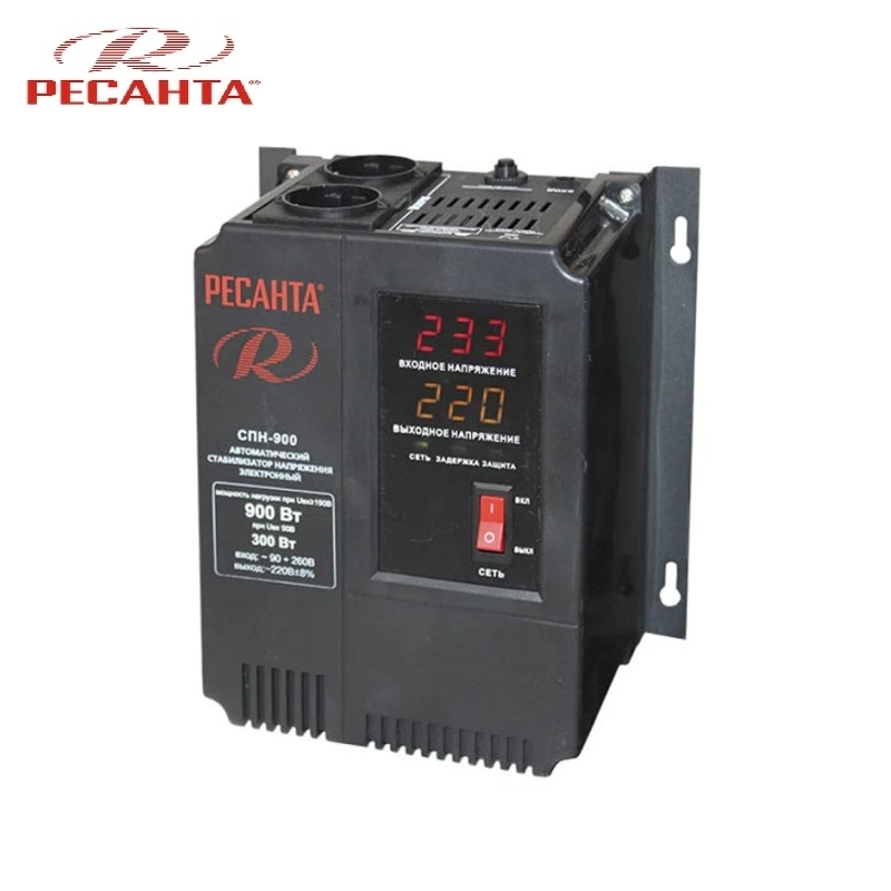 Single phase voltage stabilizer RESANTA SPN 900 Relay type Voltage regulator Monophase Mains stabilizer Surge protect стоимость