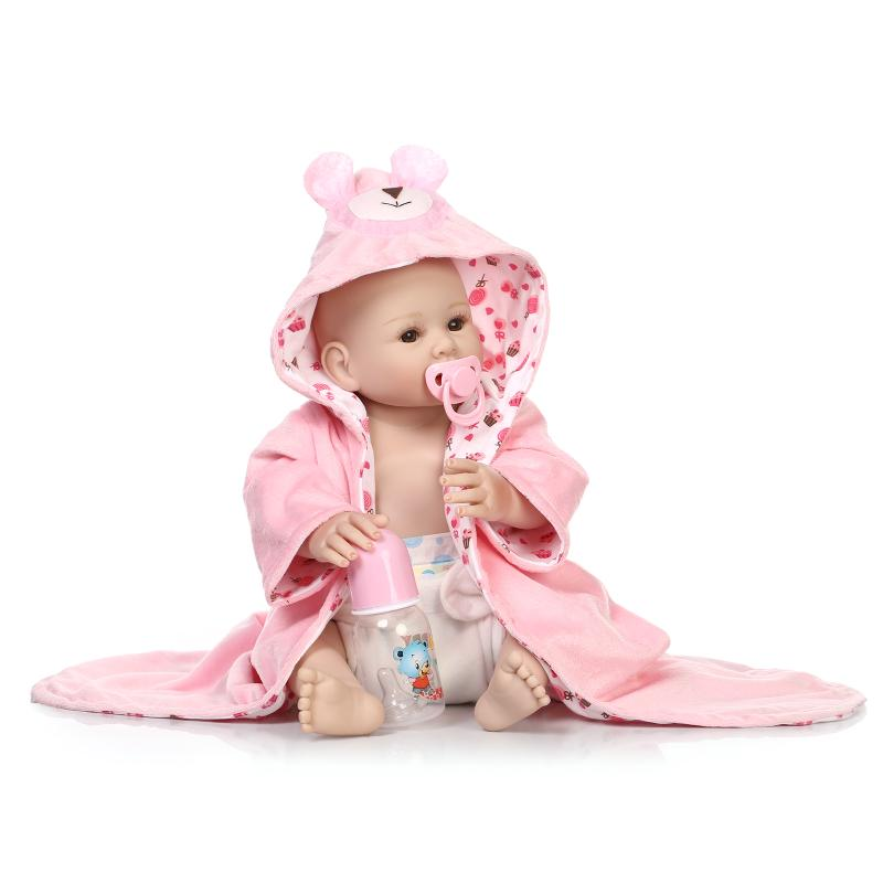 цены NPK 50CM 100% full silicone silicone reborn baby girl dolls lifelike fake baby doll bebe alive reborn bonecas children toys