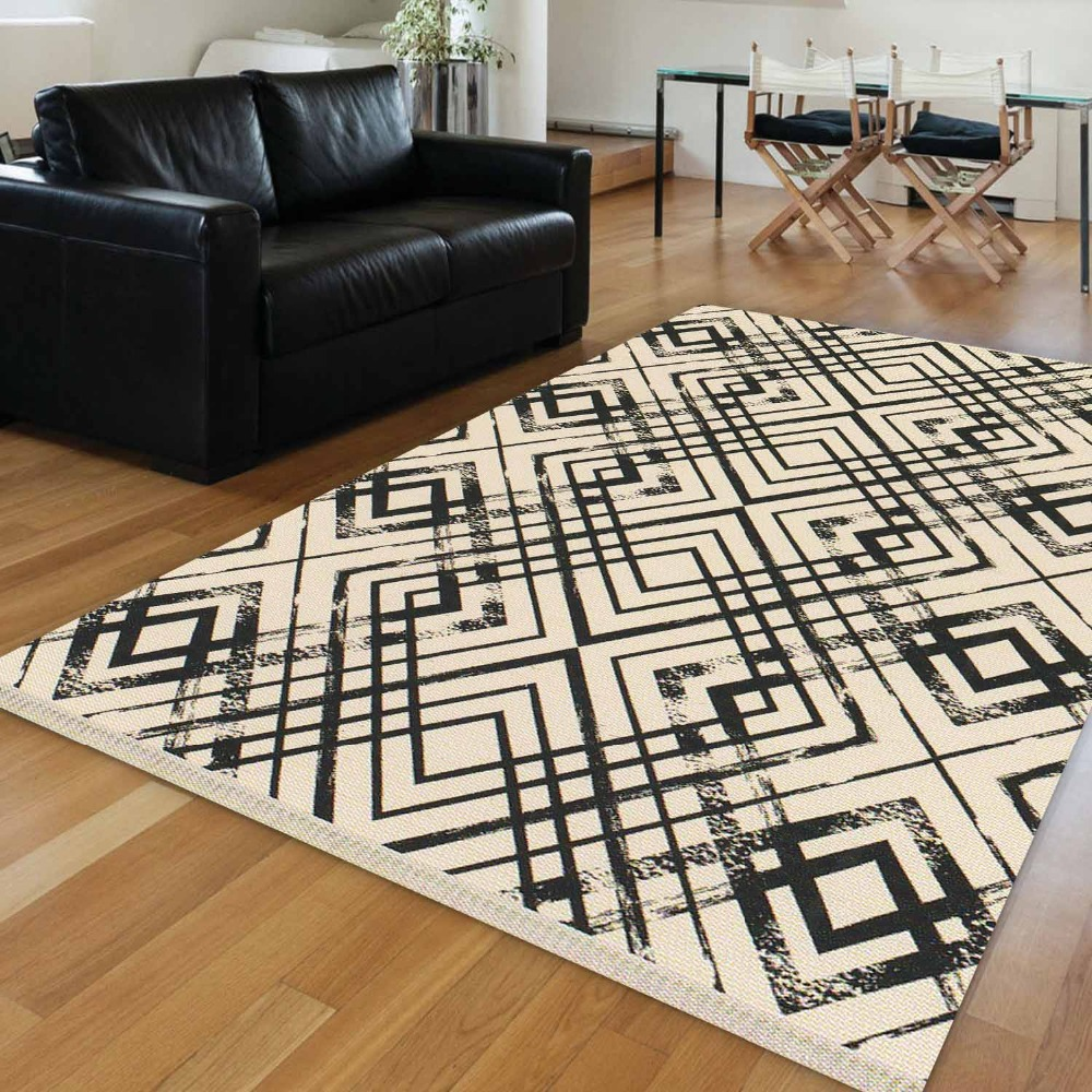 Else Brown Cream Floor Black Lines Tiles Geometrics 3d Print Anti Slip Kilim Washable Decorative Kilim Area Rug Bohemian Carpet