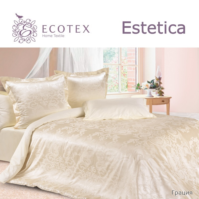 Bed linen set Grace collection Estetica, fabric of satin-jacquard, production of Ecotex, Russian companies. хвостовик a1 для биметаллических hss коронок 14 30 мм ruko 106201