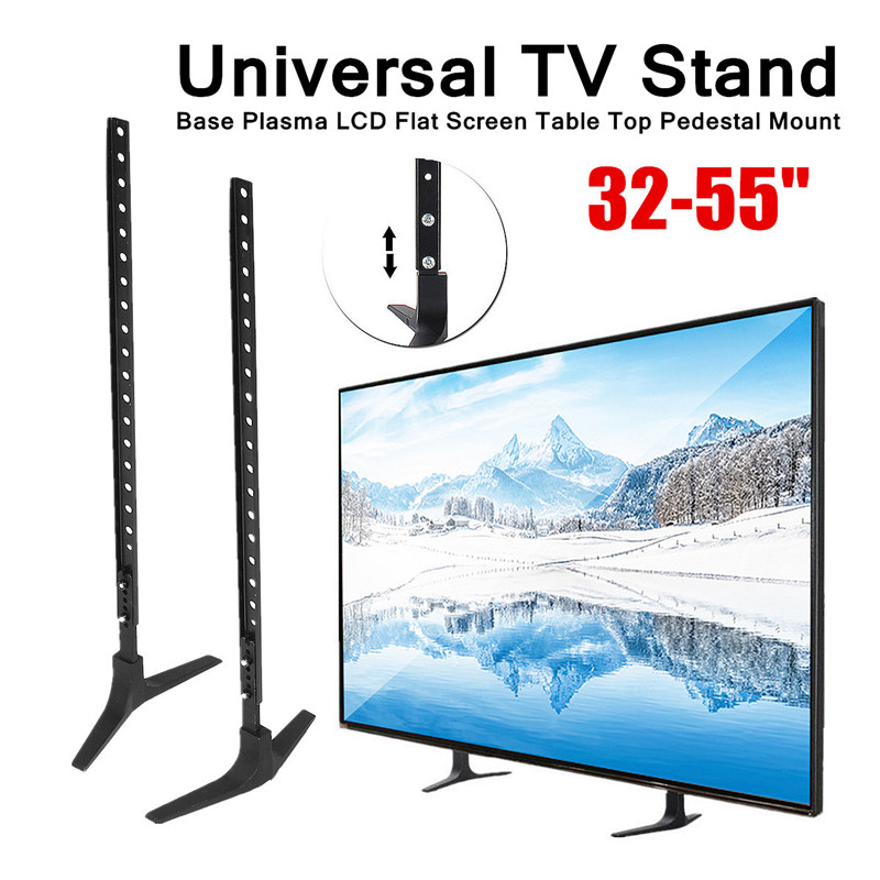 Universal TV Stand Base Alloy + Steel Plasma LCD Flat Screen Table Top Pedestal Mount 32-55 Height Adjustable Easy Install